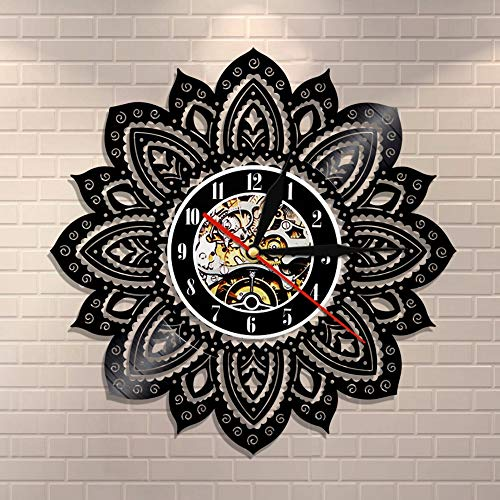 Mandala Wall Art Vinilo Record Reloj de Pared Lotus Flower of Life Mandala Yoga Buddha Ornamento Geométrico Decoración de Pared Regalo Para Ella
