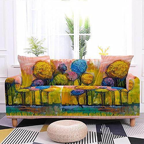 Fundas para Sofa 4 Plazas Funda de Sofa Elastica Cubre Sofa Cubresofá Funda Cubierta para sofá Ajustable Protector Lavable Funda de sillón para sofá 225-290cm, Pinturas de árboles pastorales B