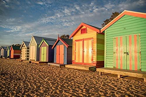 OKWallArt - Kit da ricamo per pittura a mosaico colorato per creare casette da bagno in fila Brighton Beach South Australia, kit per decorazioni per la casa, 30 x 20 cm