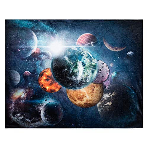 Solar System Throw Blanket, Extra-Large Outer Space Blanket for Kids Boys and Girls, Fleece Planets Blanket with Outer Space Galaxy Theme (50in x 60in) Plush Kids Throws for Boys for Bed, Couch, Sofa