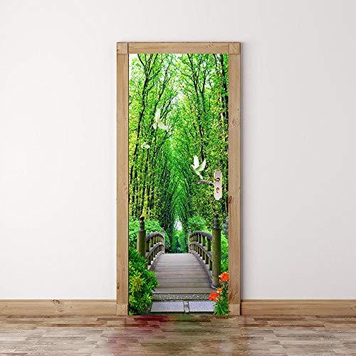 Diopn zelfklevende deurstickers, duivenbos, wit, houten brug, Chinese podium, voor woonkamer, badkamer, 3D-decoratie (77 x 200 cm)