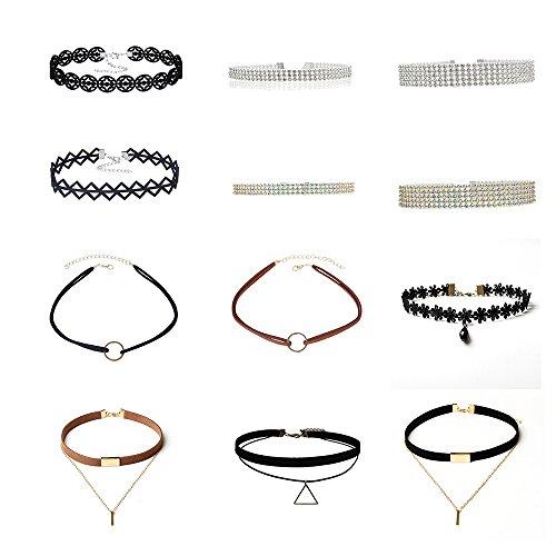 Vintage Nero ledernes doppeltes placcato Choker della collana di strass oro catene di velluto della punta di collo colletto girocollo collana per ragazza donna 12PCS