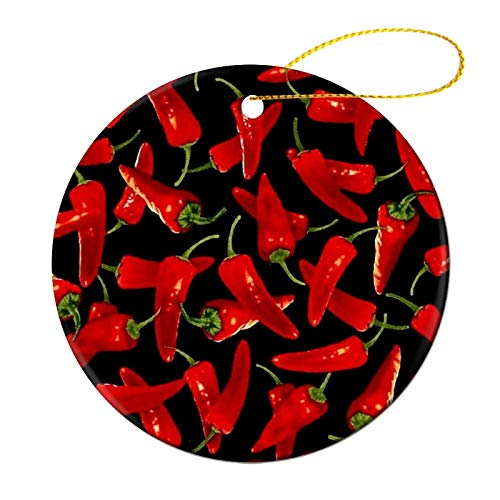 Silinana Chili Peppers Chili Christmas Round Ceramic Ornaments, Christmas Tree Decorations Housewarming Wedding Decorations Holiday Party Gifts