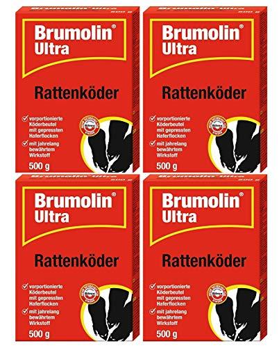 Brumolin Ultra Rattenköder 4x500 gr, Rattengift, Rattenportionsköder, Rattenbekämpfung