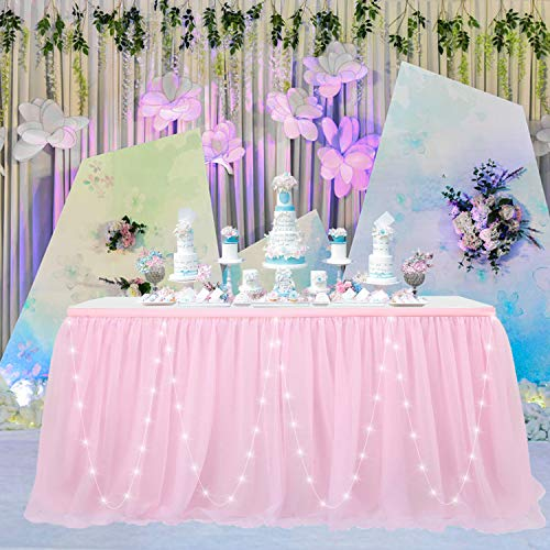 CO-AVE Pink LED Tulle Table Skirt with Gold Brim, 14FT Tutu Table Cloth for Round or Rectangle Tables, Perfect for Weddings, Parties, Birthdays and Home Decorations (L167inx H30in)