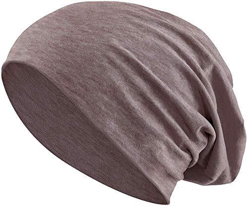 Jersey Baumwolle elastisches Long Slouch Beanie Unisex Mütze Heather in 35 (3) (Heather Brown)