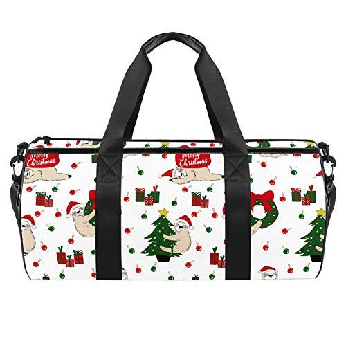 Navidad perezoso Santa Claus con regalos bolsa de transporte de lona bolsa de viaje para gimnasio deportes danza viaje Weekender
