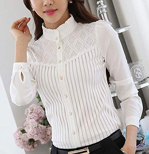 Smile Fish Women Hollow Out Back Zipper Lace Long Sleeve Elegant Blouse (UK 4/Tag Size M, White2) steampunk buy now online