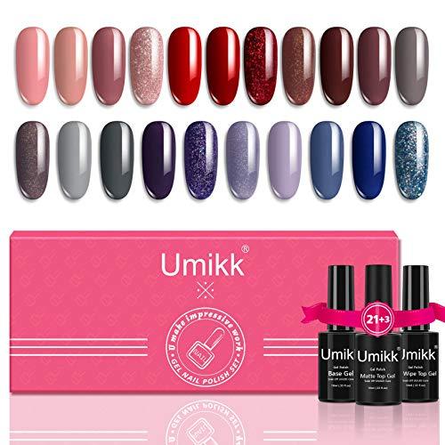 Umikk 24 Stück Gel Nagellack Set 21 Farben 5ml mit Basis No Wipe Top Matt Decklack 10ml UV LED Cure Nude Rot Grau Lila Schimmer Glitter für Nail Art Manicure einweichen