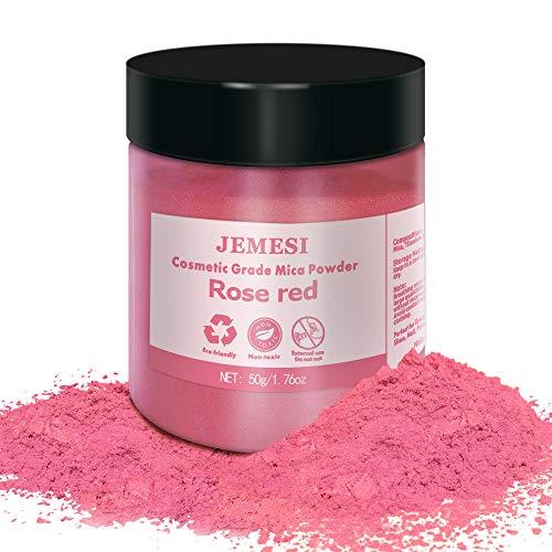 JEMESI 50g pigmentos en polvo de Mica para teñir resina epoxi transparente,colorante jabon, bombas de baño, hacer slime, Maquillaje - Rosa Roja