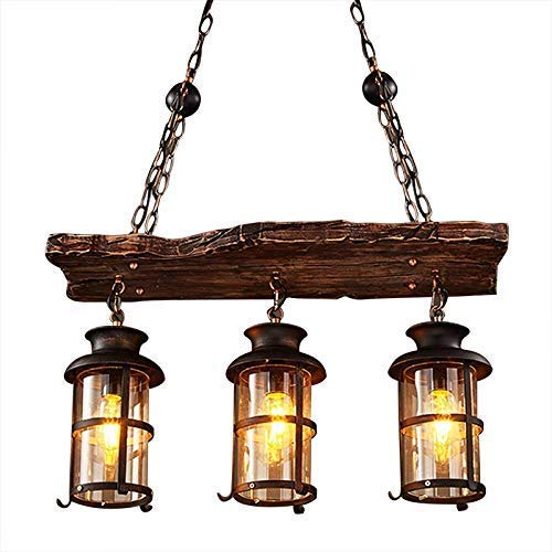 Ruanpu Vintage Plafoniera Lampadario a sospensione Light Industrial Woody Metal Cage Frame con paralume in vetro per la casa Loft Hallway soggiorno Bar Ristoranti Coffee Shop Club Decoration