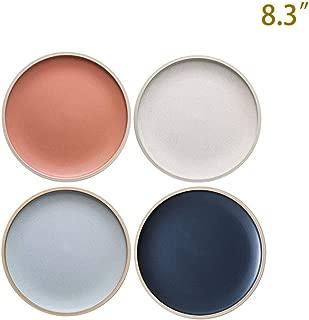8.3-Inch Porcelain Dinner Plates Set Pizza Pasta Serving Plates Matte Glaze Dessert Dishes Set of 4