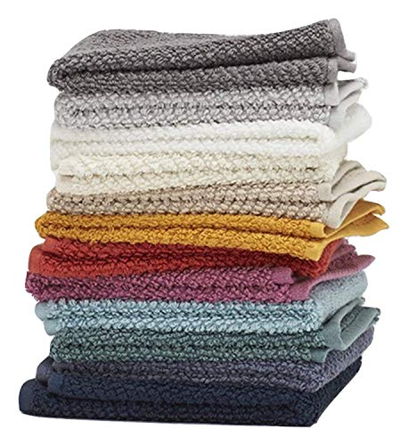 """Washcloths, 12 Pack, 100% Extra Soft Ring Spun Cotton Wash Cloth, Size 13"""" X 13"""", Soft and Absorbent, Machine Washable, Vibrant Assorted Colors"""