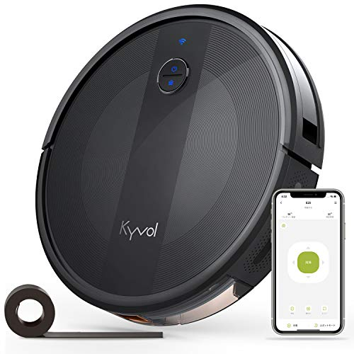 Kyvol E20 ロボット掃除機 2500Pa 強力吸引 超薄型 畳 静音 自動充電 Alexa WiFi 落下防止 衝突防止 150分間連続稼働 掃除ロボット 境界線テープ ブラック