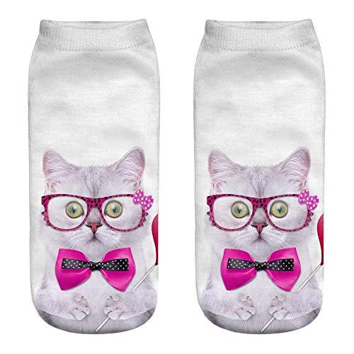 URIBAKY - Calcetines de tobillo, estampados, unisex, divertidos, de moda 3D, calcetines bajos, f, Talla única