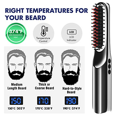 Beard Straightener for Men (2019) Cordless Beard Straightening Comb Ionic Heat Beard Brush USB Charging Beard Iron Beard Hair Straightener Brush for Men & Women—For Home & Travel (Black)