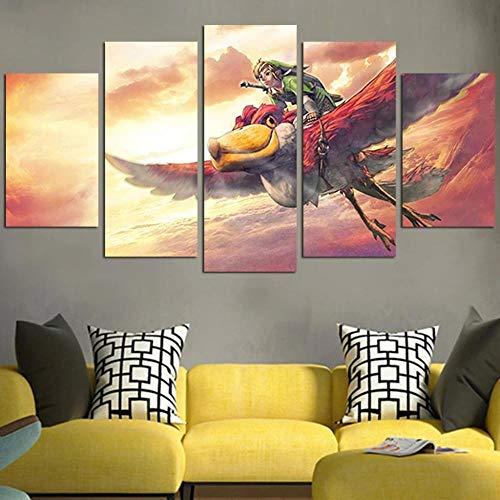 Canvas Wall Art 150X80Cm Non-Woven Canvas Prints Image 5 Pieces The Legend Of Zelda Skyward Sword Artwork Painting Picture Photo Home Decor