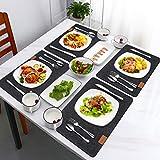 Tencoz Filz Tischset, Platzset Abwischbar Platzdecken Grau Anthrazit Platzsets Set mit 6er Untersetzer Rund und 6er Besteckbeutel, Tischmatten 44 x 30 cm für Küche, Familie - 2