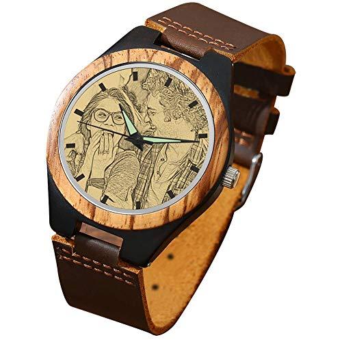 SOUFEEL Reloj Madera Personalizado Foto y Grabado Punteros Luminosos Cuarzo con Correa Cuero Regalo para Familia Hombre Mujer Amigo Pareja