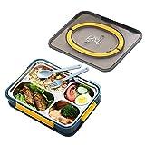 Guorzom Bento Box para adultos y niños, caja de almuerzo interior de acero inoxidable, 1000 ml a prueba de fugas Bento Box 4 compartimentos Fiambrera de alimentos (incluye tenedor y cuchara)