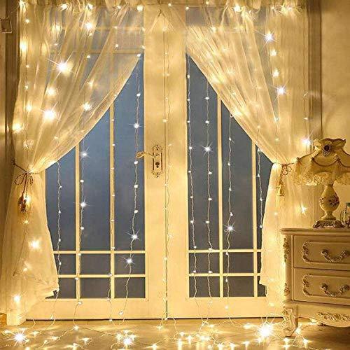 Tenda luminosa, 3 * 3 M 300 Leds Stringa Illuminazione USB LED Catena decorazione Luminosa Luci a Corda di Rame IP65 per Natale, matrimonio, festa, casa, Giardino, 8 Modalità (Bianco Caldo)
