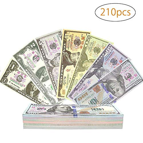 Spielgeld für Kinder, Color You 210 Stück Papiergeld, Rechengeld für Spielzeug Kasse | Spielwaren Kaufmannsladen 1, 2, 5, 50, 10, 20, 100 Dollar