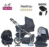 Chilly Kids Matrix II Kinderwagen Safety-Sommer-Set (Sonnenschirm, Autositz & ISOFIX Basis, Regenschutz, Moskitonetz, Schwenkräder) 23 Schwarz & Schwarz
