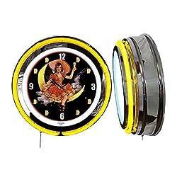 Checkingtime LLC 19 Miller High Life Beer Girl #1 Neon Clock, Yellow Outside Tube, Two Neon Tubes