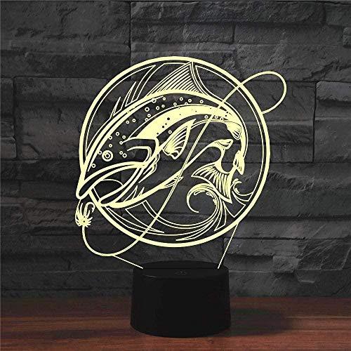 Lámpara De Ilusión 3D Luz De Noche Led Pesca Sensor Táctil Control Remoto Lámpara De Mesa Usb Lámpara De Escritorio Para La Decoración Del Dormitorio De La Sala De Estar Del Hogar