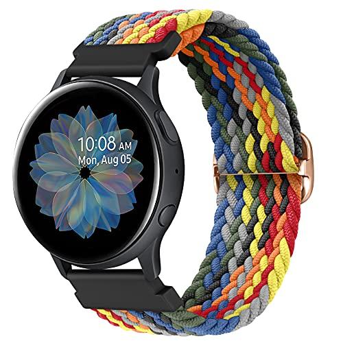 AK Elastico Intrecciato Cinturino Compatibile per Samsung Galaxy Watch Active2/ Active, 20mm Cinturino Elastico in Nylon per Samsung Galaxy Watch Active/Galaxy Watch Active2/ Gear S2 Classic 5