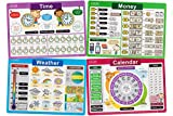 Jessie&Jade Educational Placemats for Kids - Set of 4: Time, Money, Calendar, Weather - Washable, Durable, Reusable - Large Learning Mats for Toddlers and Preschoolers - Plastic Kids Placemat Non Slip