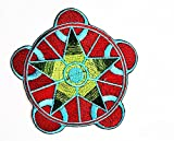 HHO Red Yoga Indian Trance logo patch Embroidered Applique Patch Red Color patch Embroidered DIY Patches, Cute Applique Sew Iron on Kids Craft Patch for Bags Jackets Jeans Clothes