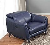 American Eagle Furniture EK-H247 Modern Italian Leather Electric Recliner Chair, Navy Blue