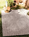 Unique Loom Solid Collection Casual Transitional Indoor and Outdoor Flatweave Area Rug, 5' x 8', Beige/Gray