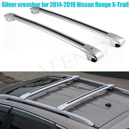LAFENG Barra de Cruz Plateada para Nissan Rogue X-Trail 2014-2019, 2 Unidades, aleación de Aluminio, portaequipajes, Barras de Techo