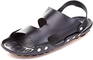 QinMei Zhou Sandals Shoes for Men Slipper Pull on Microfiber Leather Quick Dry Cutout Flat Clog with Back Strap Open Toe Lightweight Buckled (Color : Black, Size : 6.5 UK)