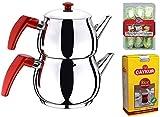 Turkish Caydanlik Teapot Tea Maker Stainless Steel Mini Size + Gift 500G Turkish Black Tea & Turkish Delight UK Stock