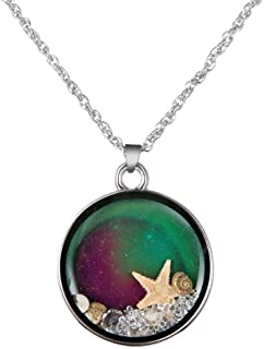 White Gold Plated Cute Turtle & Owl & Starfish Heart Shaped Color Change Mood Pendant Necklace Women Girls Emotion Jewelry