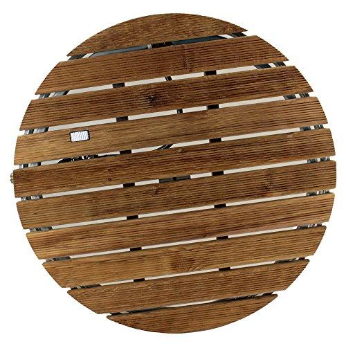 @tec Gartendusche Aussendusche aus massivem Teak-Holz, Mobile Bodendusche Campingdusche, Sauna- & Pool-Dusche rund mit Bodenplatte für den Garten, Outdoor Shower - 3