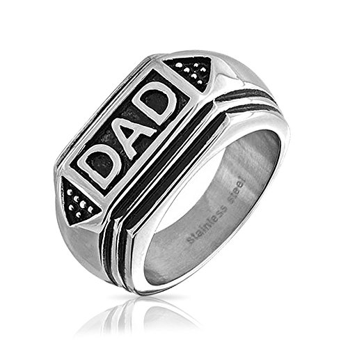 Bling Jewelry Mens Dad Word Band Signet Ring for Men Oxidized Silver Tone Stainless Steel
