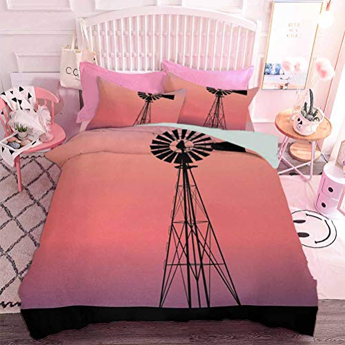 Hiiiman 3D impreso ropa de cama molino de viento silueta en Dreamlike Sunset Western Ranch tema agrícola (3 piezas, tamaño doble) edredón y dos fundas de almohada