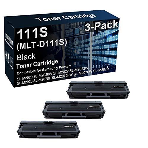 Paquete de 3 cartuchos de tóner compatibles con impresoras láser 111S MLT-D111S para Samsung Xpress SL-M2020W SL-M2022W SL-M2060 SL-M2070FW, color negro
