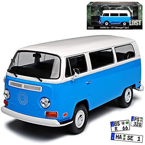 Greenlight Volkwagen T2 Lost TV Serie Blau Weiss Bus Transporter 1967-1979 1/24 Modell Auto