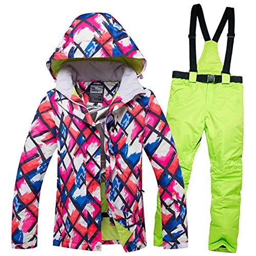 Chaqueta Y Pantalón De Esquí Abrigado para Mujer Traje De Dos Piezas Impermeable Y a Prueba De Viento para Nieve Adecuado para Senderismo Y Escalada En Hielo Trajes Deportivos,Set 9,S