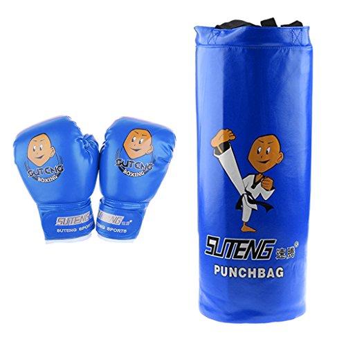 sharplace Kinder Boxsack und Handschuhe Set ungefüllt Boxsack Paar Weich gepolsterte Boxhandschuhe Boxen Training MMA Schwere Boxsack, blau