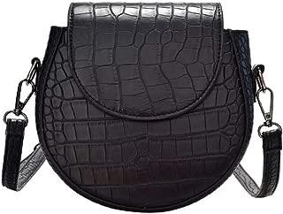 Fashion Women's Bags PU(Polyurethane) Crossbody Bag Zipper Crocodile Red/Brown/Light Grey (Color : Black)
