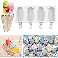 Molde de helado de silicona Pop Ice Lolly Mould Maker Frozen Dessert Popsicle Tray Home Kitchen Herramientas Pan + 10 unids Palos de madera