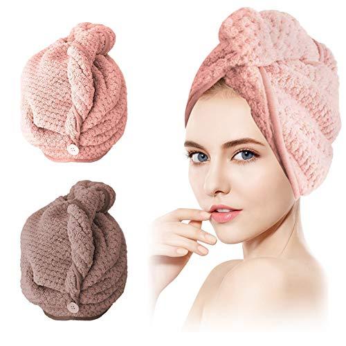 SCOBUTY Haarturban,Handtuch Haare,Turban Handtuch,2 Stück Handtuch für die Haare Schnelltrocknend, Haartrockentuchmit Knopf saugfähig Super Absorbent, Haar Trocknendes Tuch für Alle Haartypen