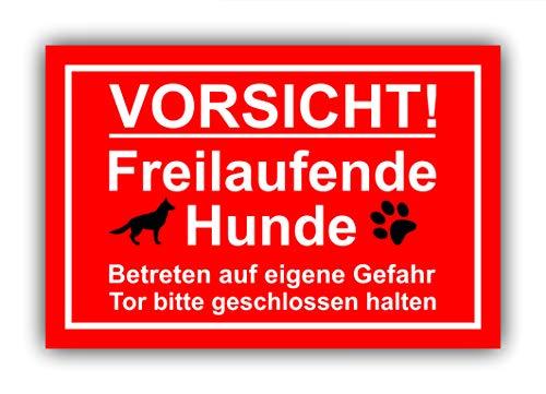 Privatgrundstück - Vorsicht freilaufende Hunde (ROT) - Kunststoff Schild 30x20, Hinweis Gefahr | Zaun Tür Zuhause Hof | Warnung, Abschreckung, Einbruchschutz - Tor geschlossen halten | Leuchtend groß
