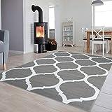 Tapiso Colección Luxury Alfombra Salón Moderno Piso Color Gris Blanco Diseño Geométrico Fácil Mantenimiento 120 x 170 cm